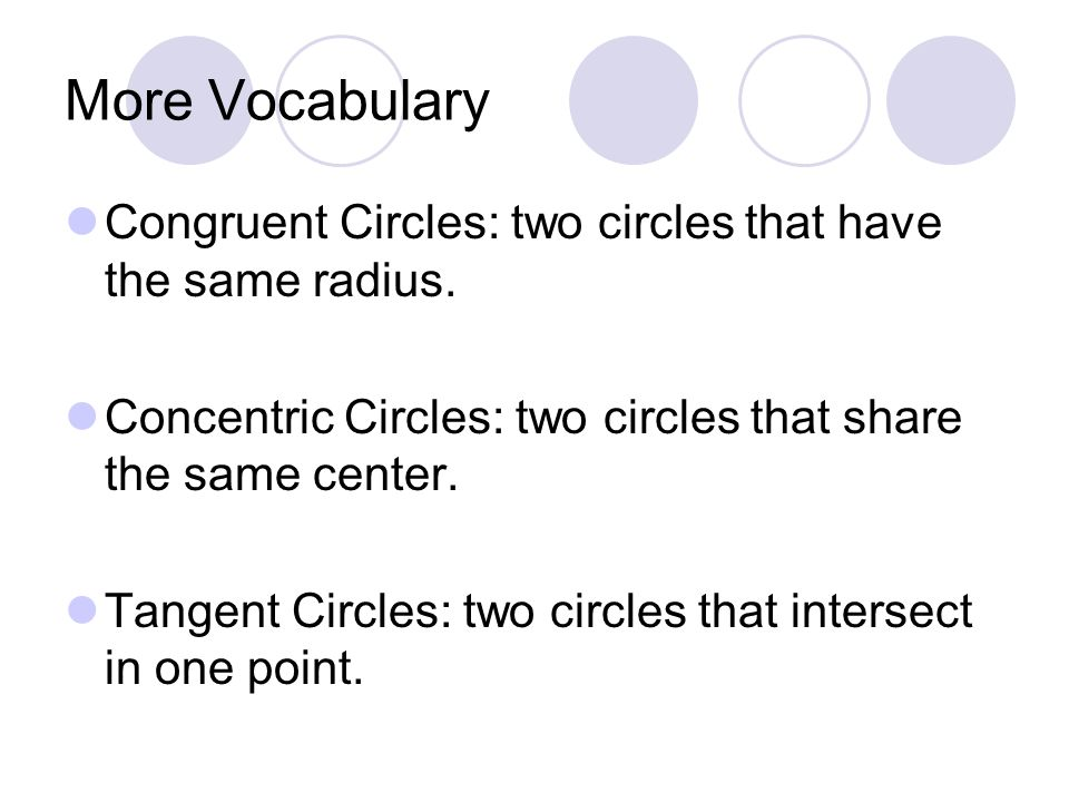 More Vocabulary Congruent Circles: two circles that have the same radius. Concentric Circles: two circles that share the same center.