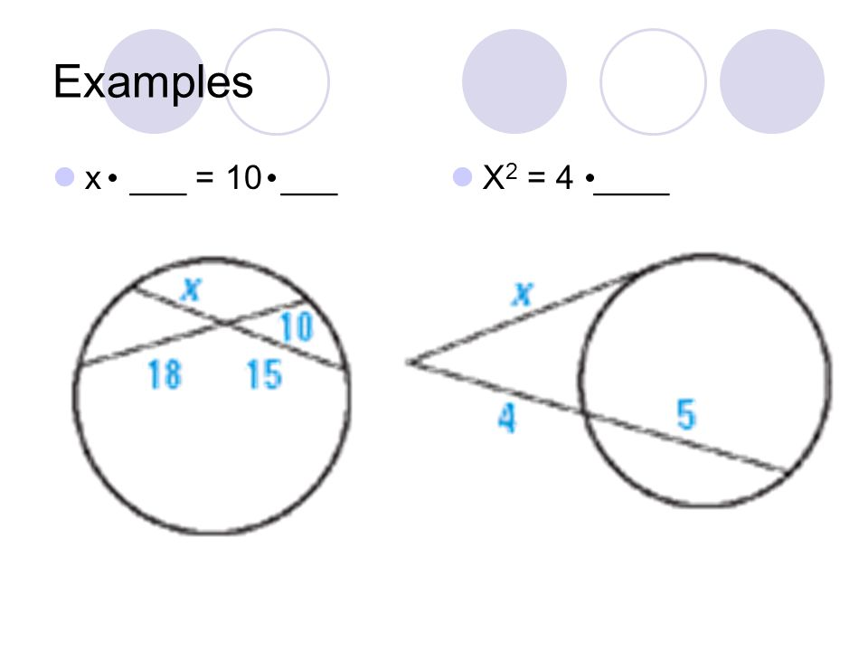 Examples x ___ = 10 ___ X2 = 4 ____