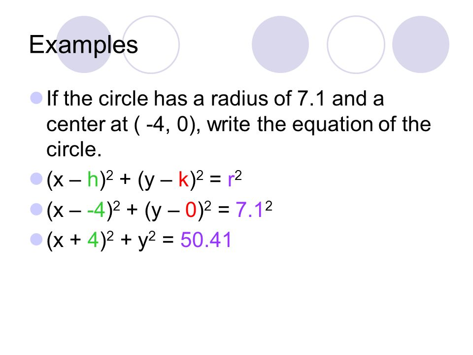 Examples If the circle has a radius of 7.1 and a center at ( -4, 0), write the equation of the circle.