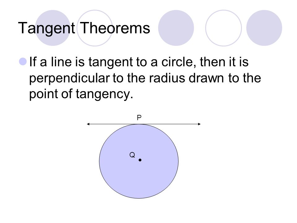 Tangent Theorems If a line is tangent to a circle, then it is perpendicular to the radius drawn to the point of tangency.