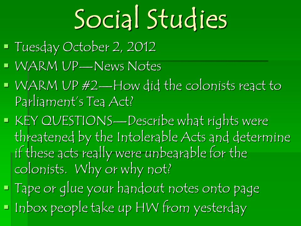 Social Studies Tuesday October 2, 2012 WARM UP—News Notes
