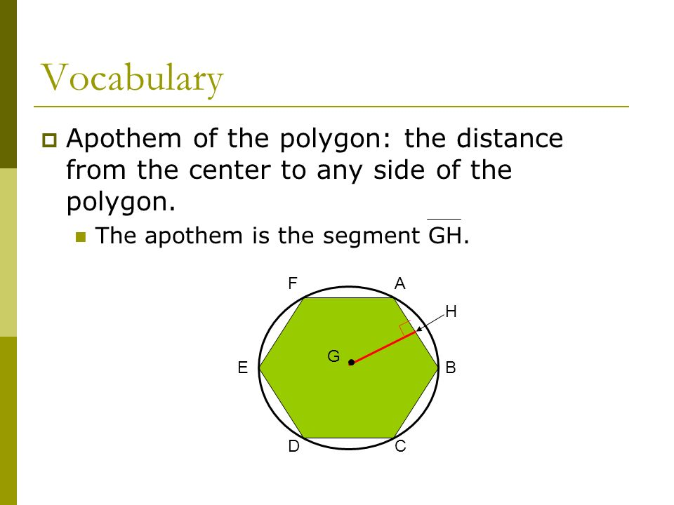 VocabularyApothem of the polygon: the distance from the center to any side of the polygon. The apothem is the segment GH.