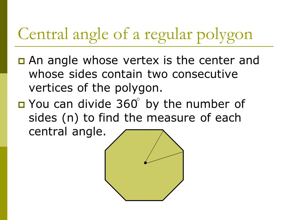 Central angle of a regular polygon