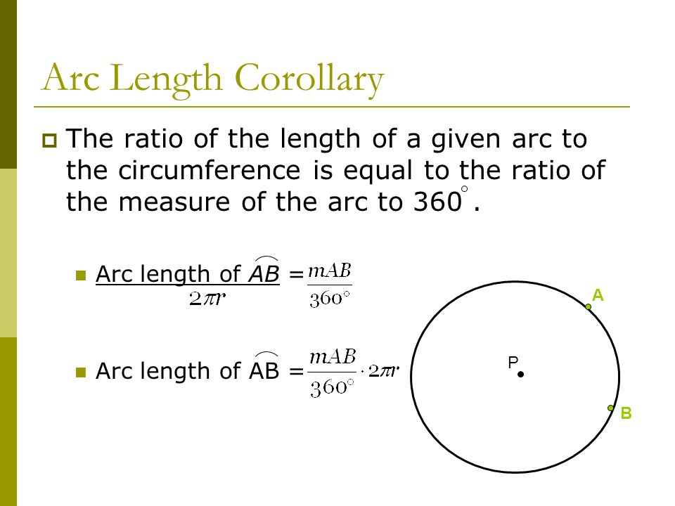 Arc Length CorollaryThe ratio of the length of a given arc to the circumference is equal to the ratio of the measure of the arc to 360 .