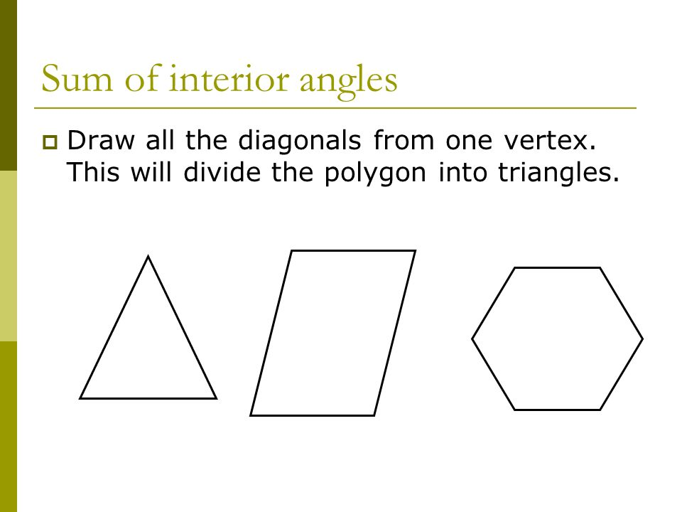 Sum of interior anglesDraw all the diagonals from one vertex.