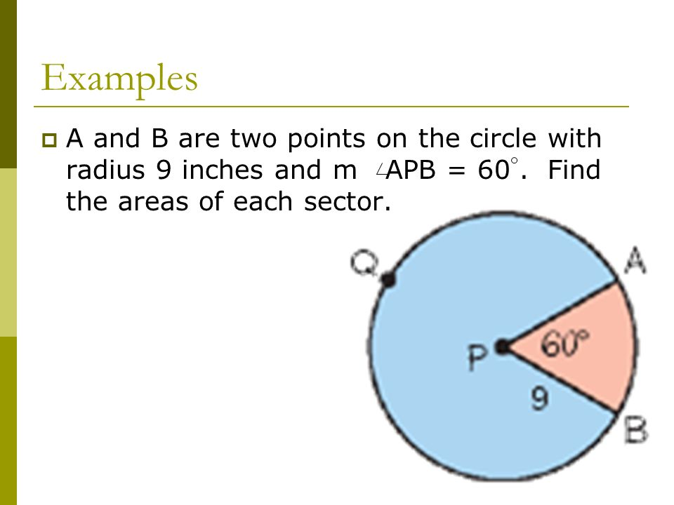 ExamplesA and B are two points on the circle with radius 9 inches and m APB = 60 .