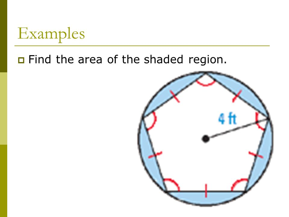Examples Find the area of the shaded region.