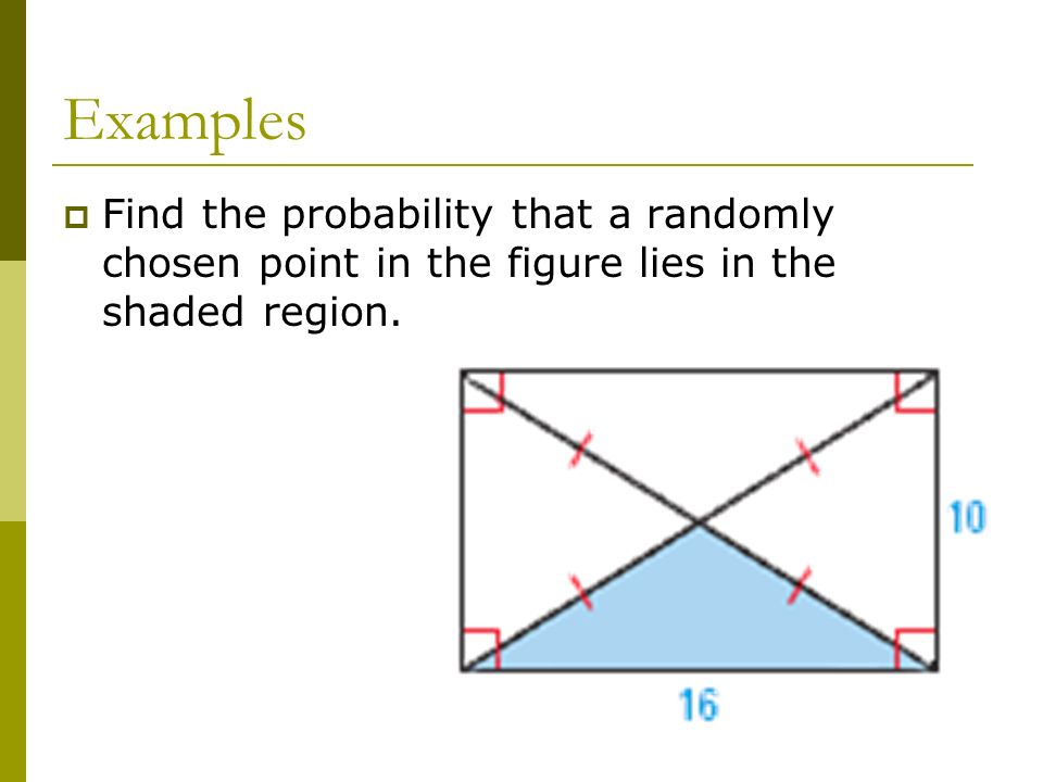 Examples Find the probability that a randomly chosen point in the figure lies in the shaded region.