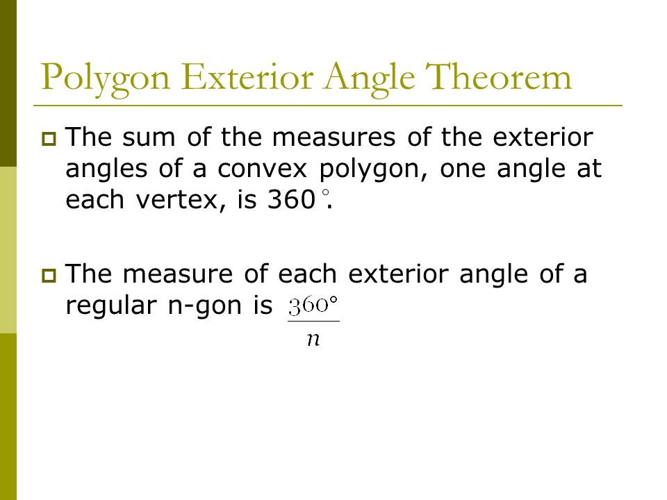 Area of polygons and circles ppt download for Exterior angles of a polygon formula