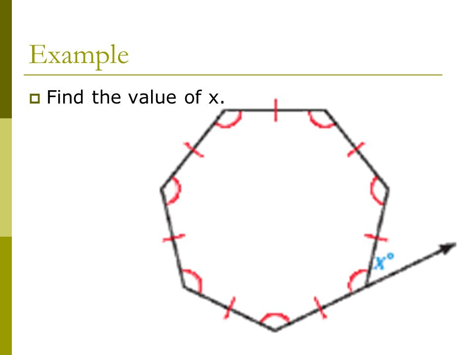 Example Find the value of x.