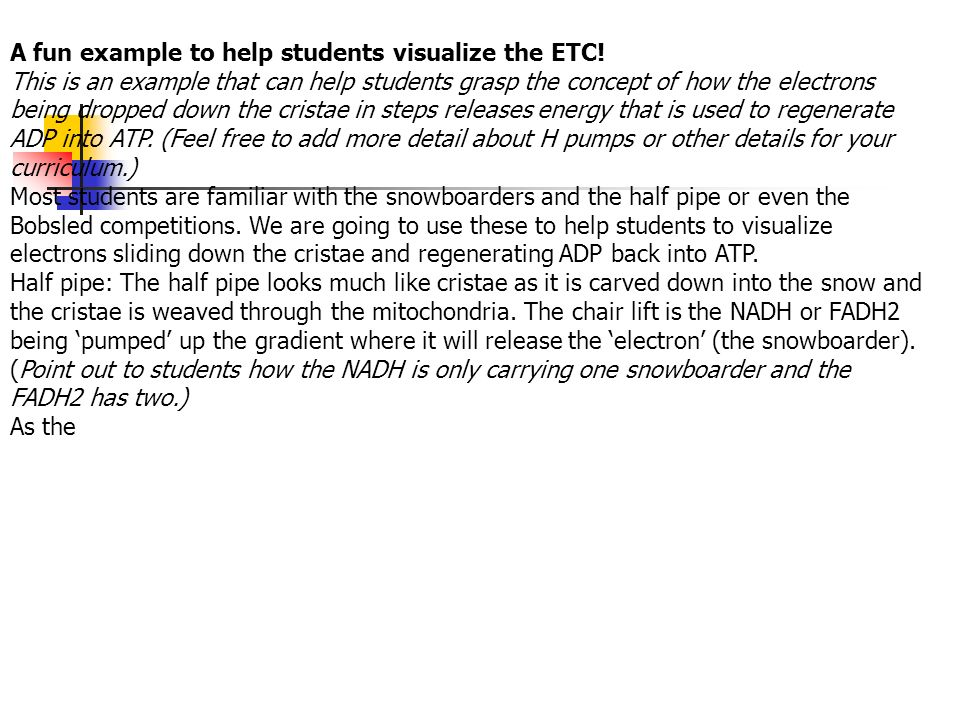 A fun example to help students visualize the ETC!
