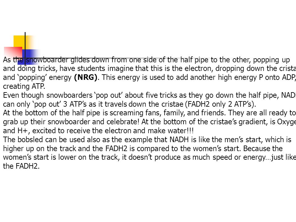 As the snowboarder glides down from one side of the half pipe to the other, popping up and doing tricks, have students imagine that this is the electron, dropping down the cristae and 'popping' energy (NRG). This energy is used to add another high energy P onto ADP, creating ATP.