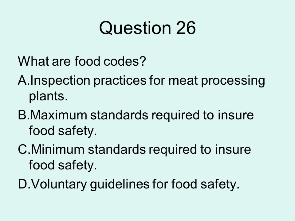 Question 26 What are food codes