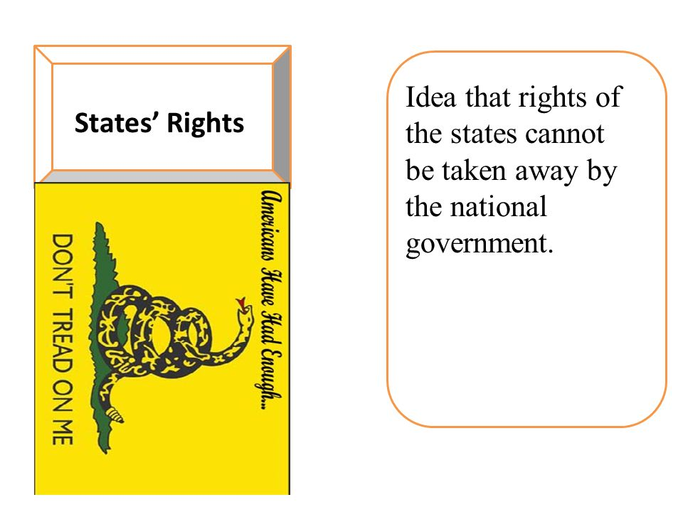 States' Rights Idea that rights of the states cannot be taken away by the national government.