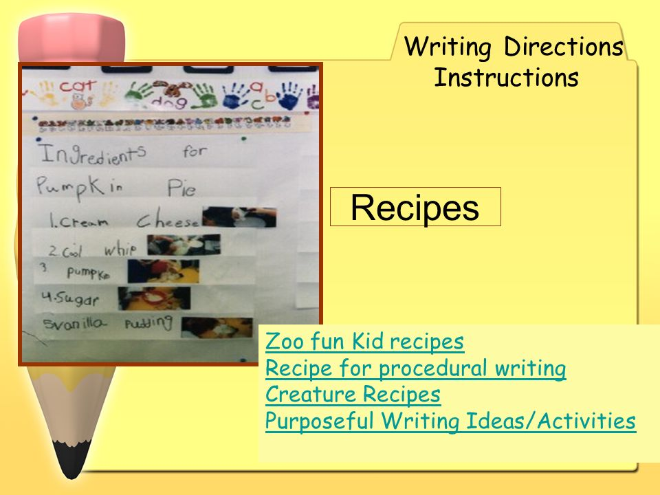Recipes Writing Directions Instructions Zoo fun Kid recipes