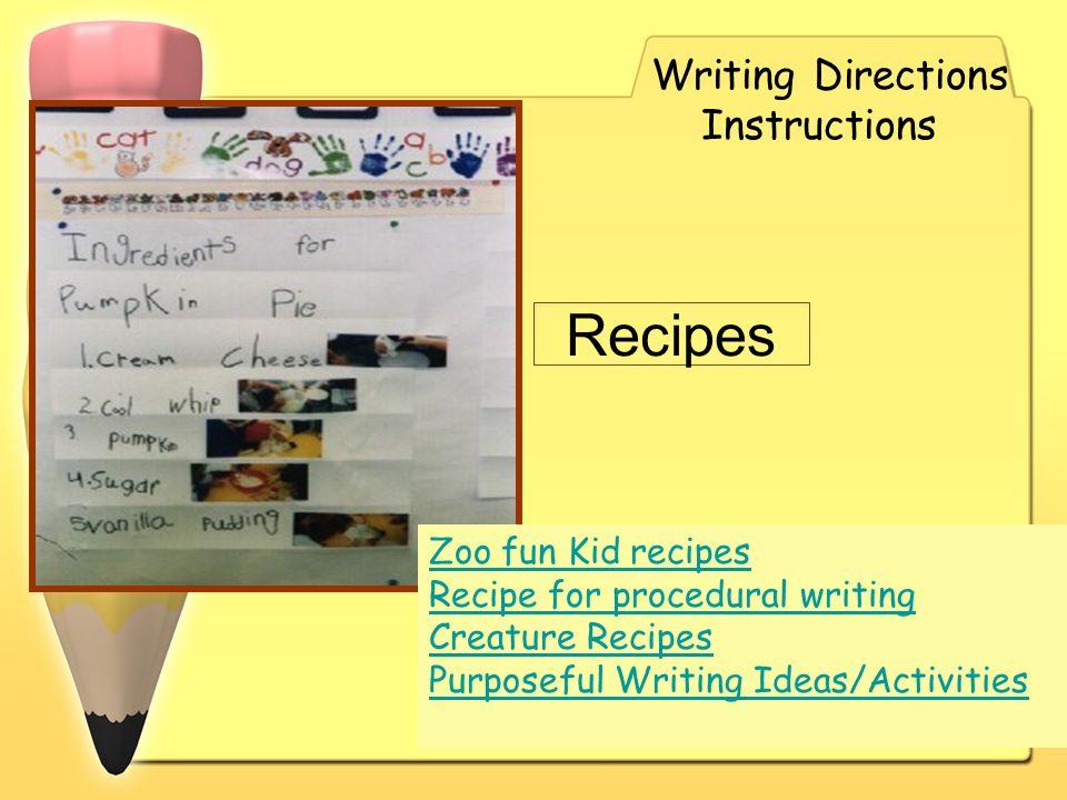 Recipes Writing Directions Instructions Zoo fun Kid recipes