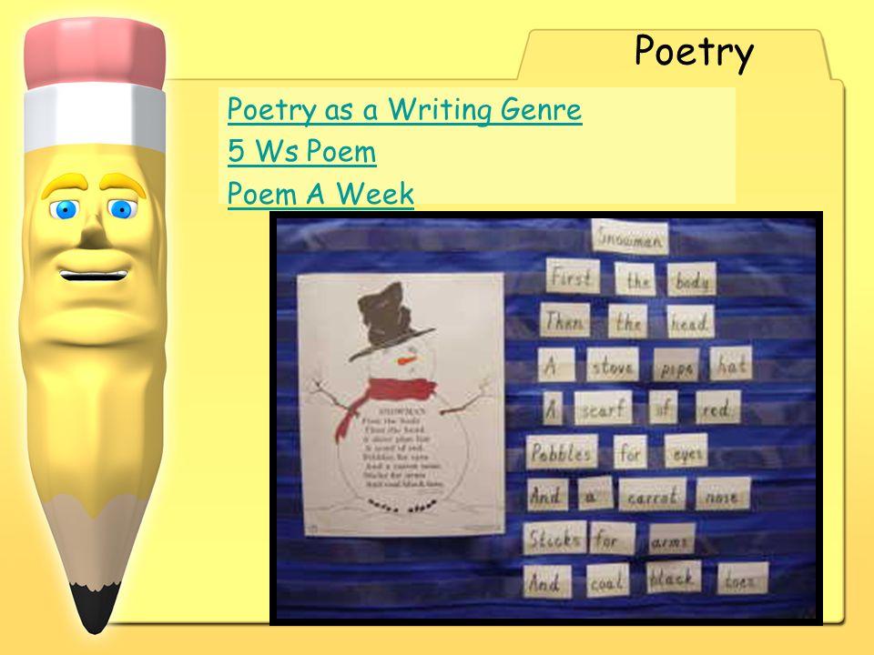 Poetry Poetry as a Writing Genre 5 Ws Poem Poem A Week