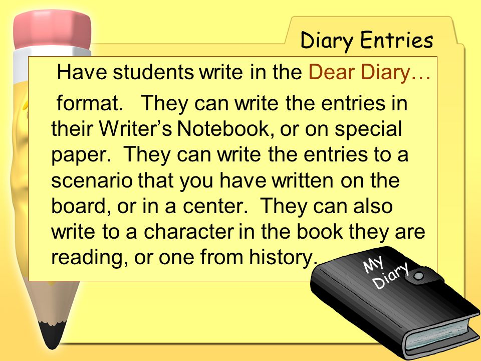 Have students write in the Dear Diary…