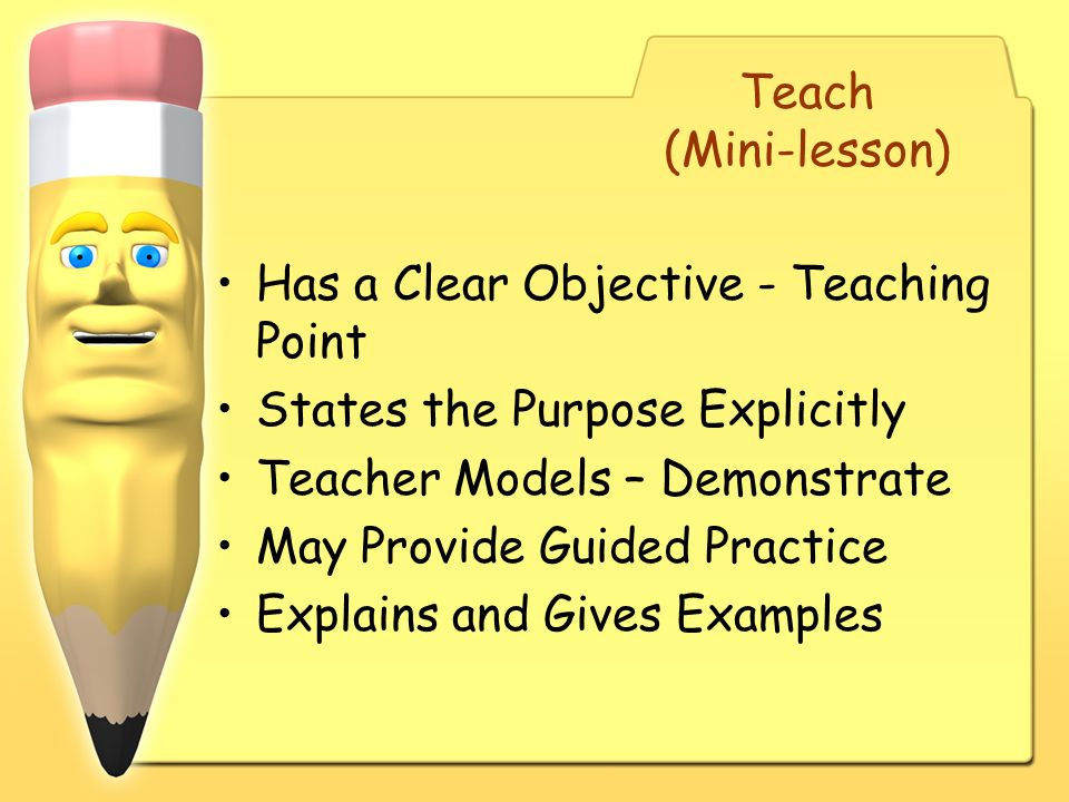 Has a Clear Objective - Teaching Point States the Purpose Explicitly