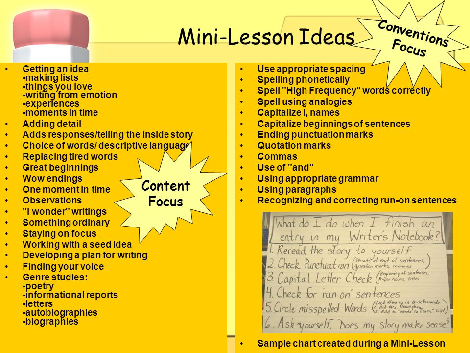Mini-Lesson Ideas Conventions Focus Content Focus