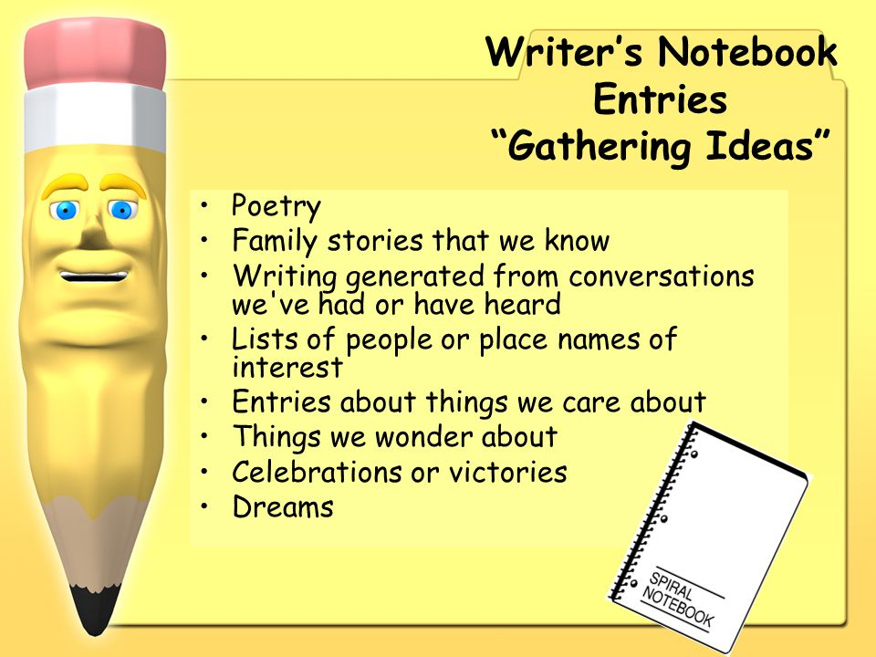 Writer's Notebook Entries Gathering Ideas