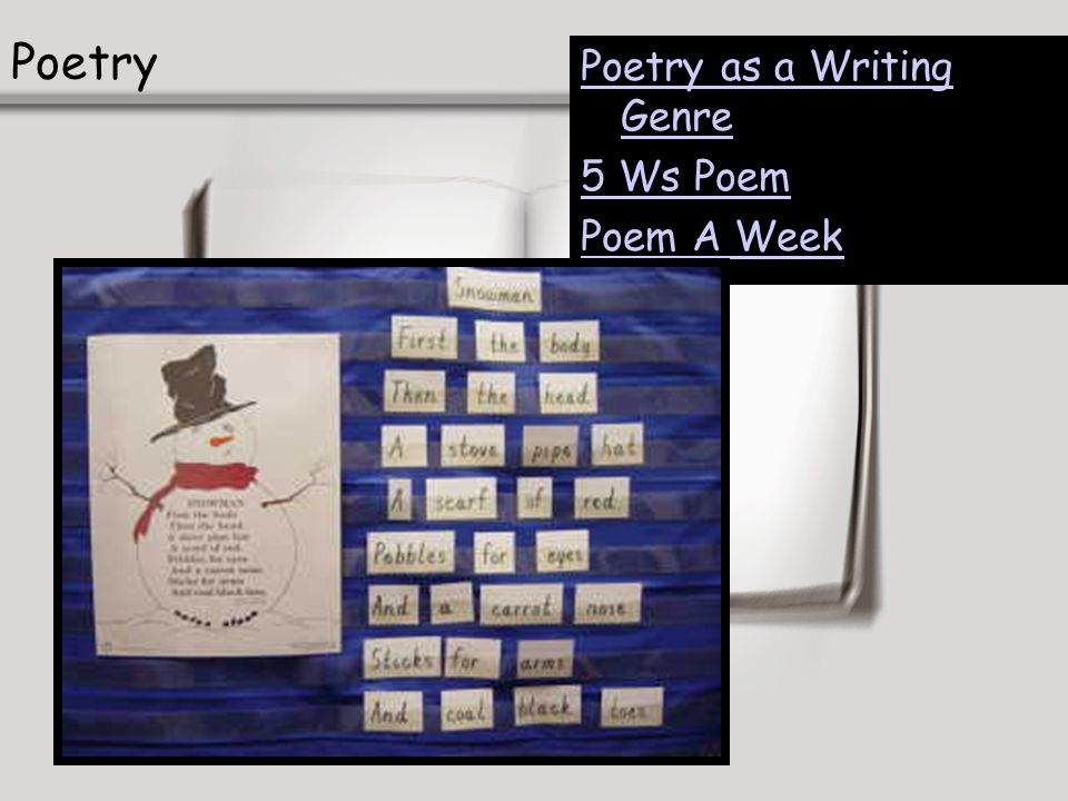 Poetry Poetry as a Writing Genre 5 Ws Poem Poem A Week