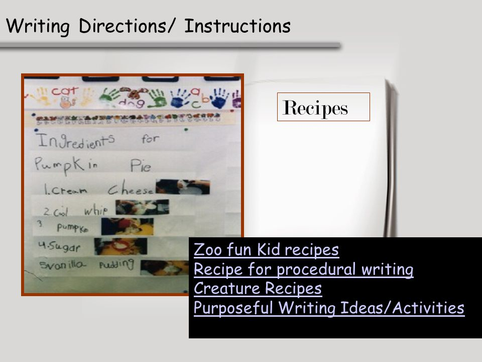 Recipes Writing Directions/ Instructions Zoo fun Kid recipes