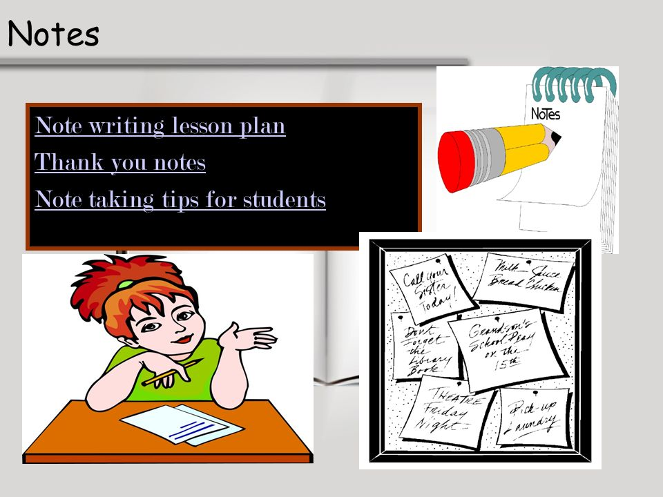 Notes Note writing lesson plan Thank you notes