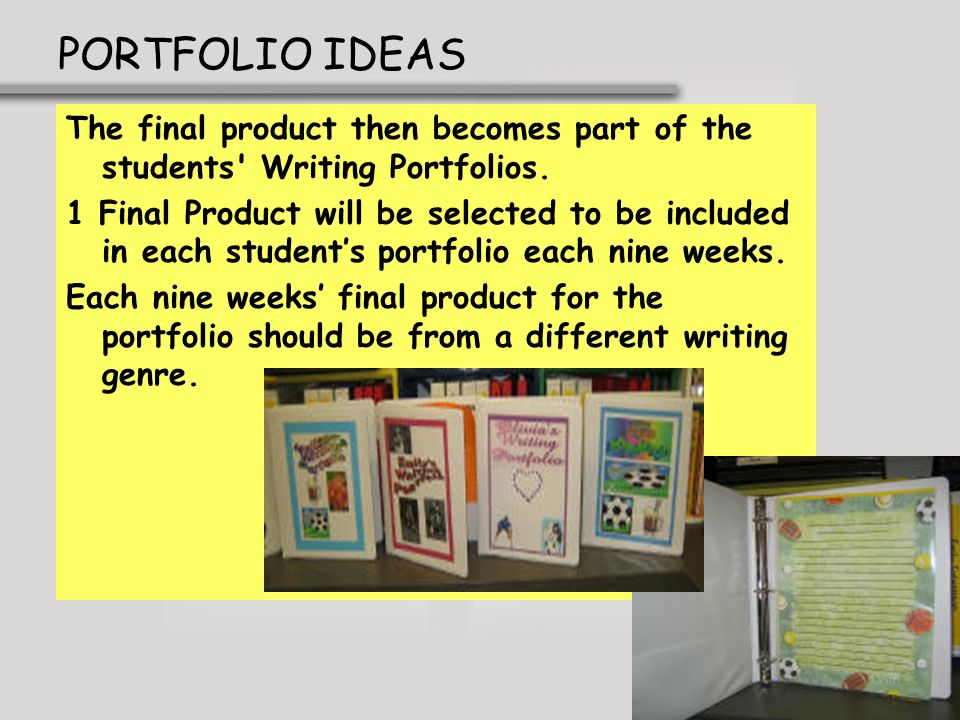 PORTFOLIO IDEASThe final product then becomes part of the students Writing Portfolios.
