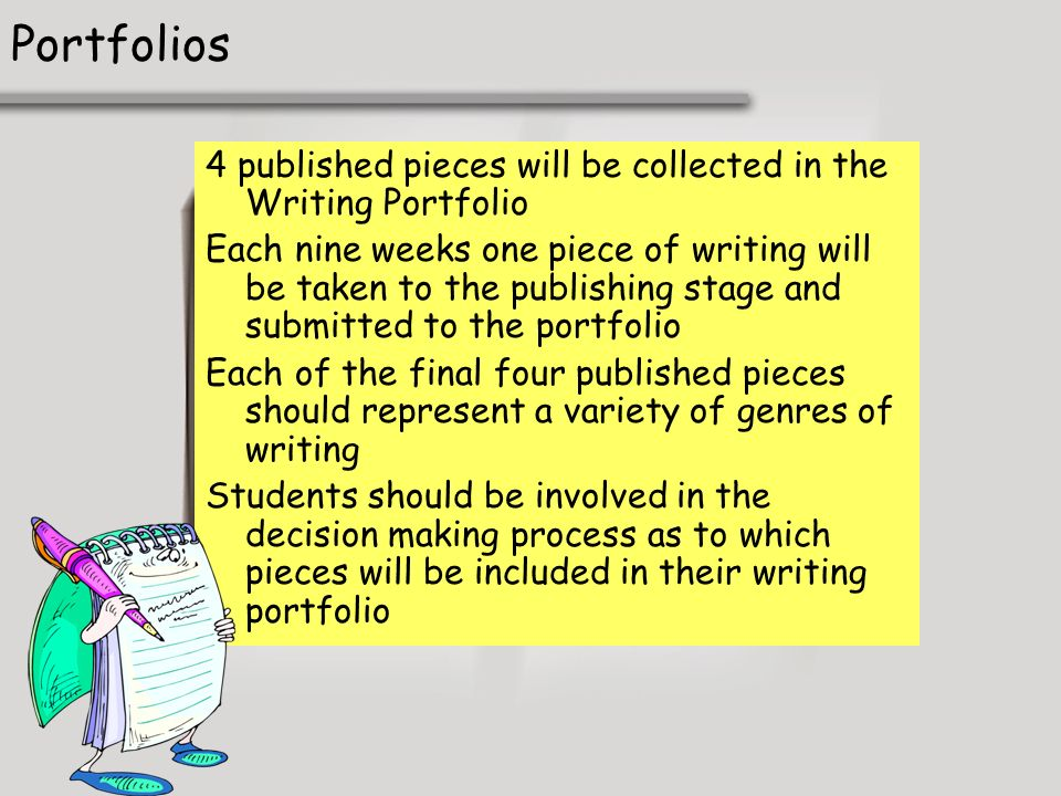 Portfolios 4 published pieces will be collected in the Writing Portfolio.