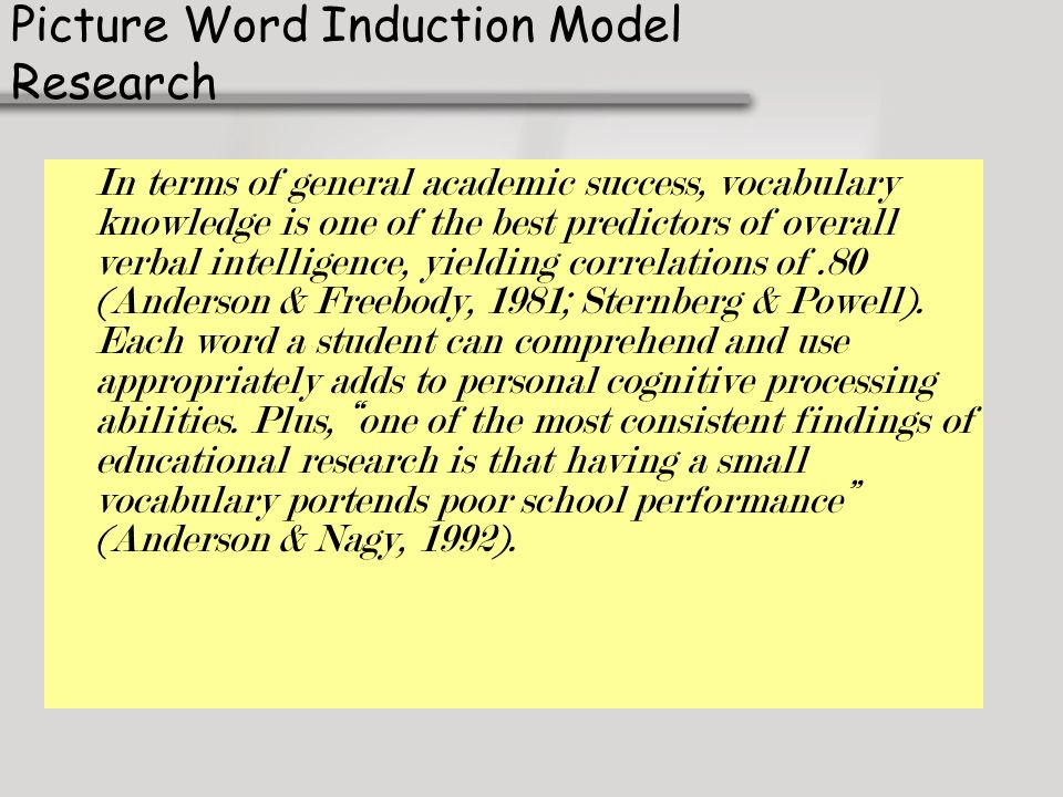 Picture Word Induction Model Research