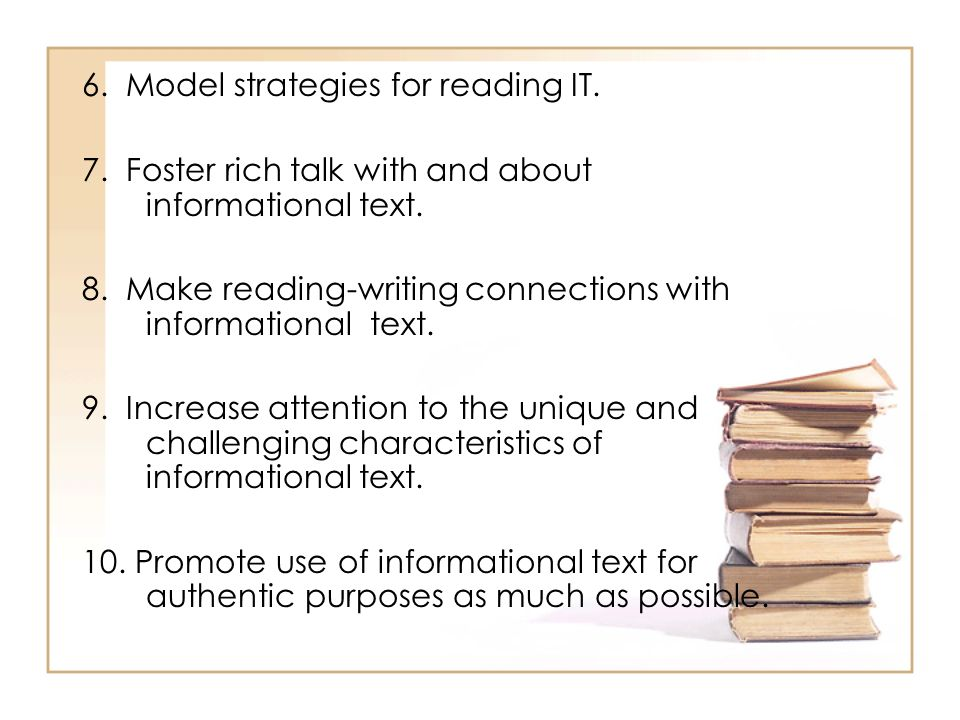 6. Model strategies for reading IT.