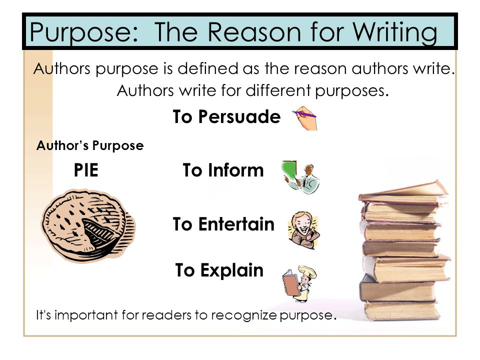 Purpose: The Reason for Writing