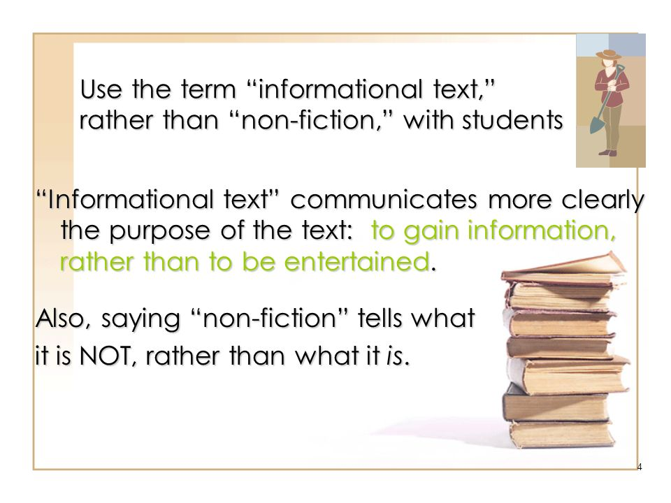 Also, saying non-fiction tells what