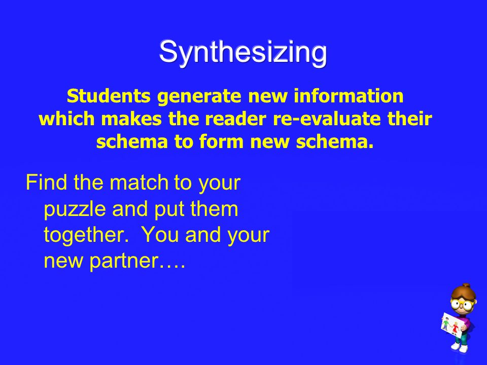 Synthesizing Students generate new information which makes the reader re-evaluate their schema to form new schema.