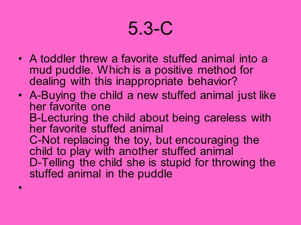 5.3-C A toddler threw a favorite stuffed animal into a mud puddle. Which is a positive method for dealing with this inappropriate behavior
