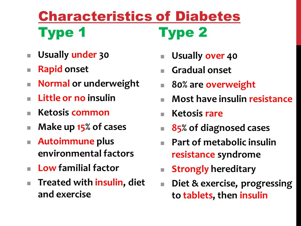 an analysis of the characteristics of diabetes type 1 and diabetes type 2