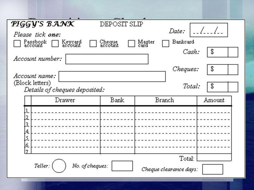 Depositing A Check Deposit Ticket Or Deposit Slip