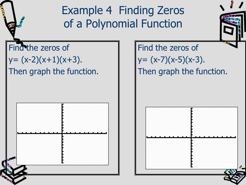 Example 4 Finding Zeros of a Polynomial Function