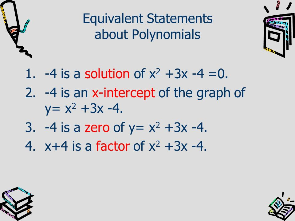 Equivalent Statements about Polynomials