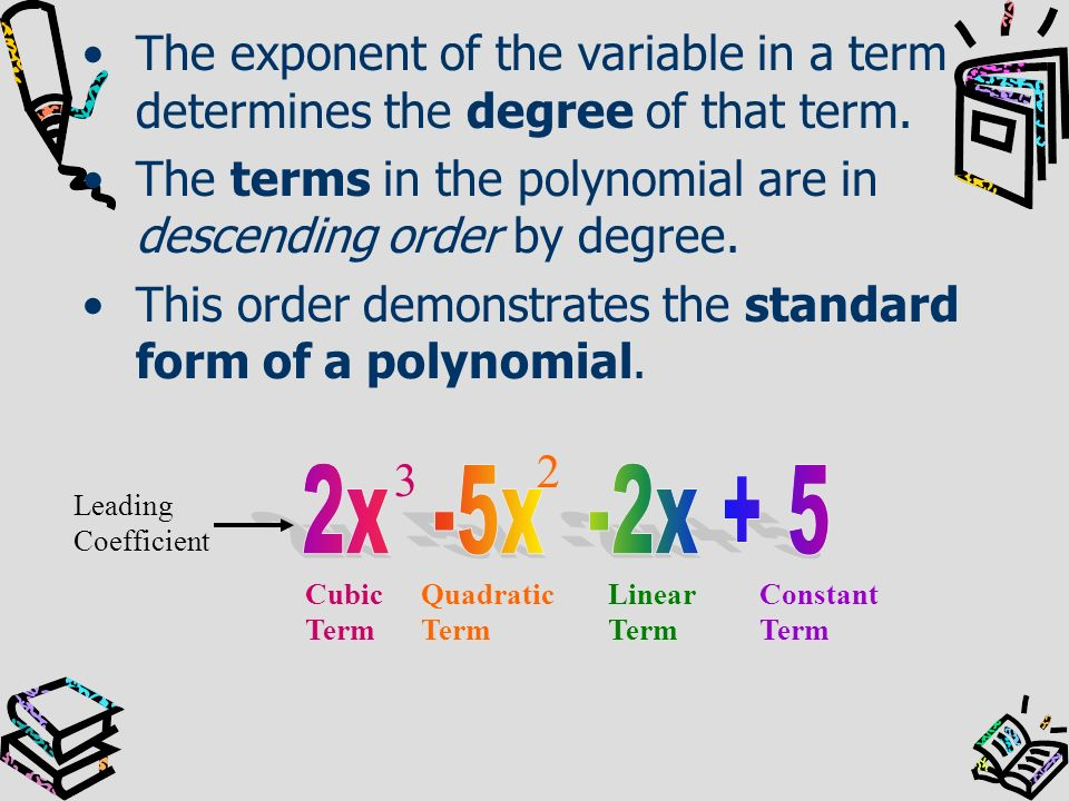 The exponent of the variable in a term determines the degree of that term.