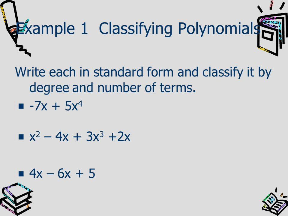 Example 1 Classifying Polynomials