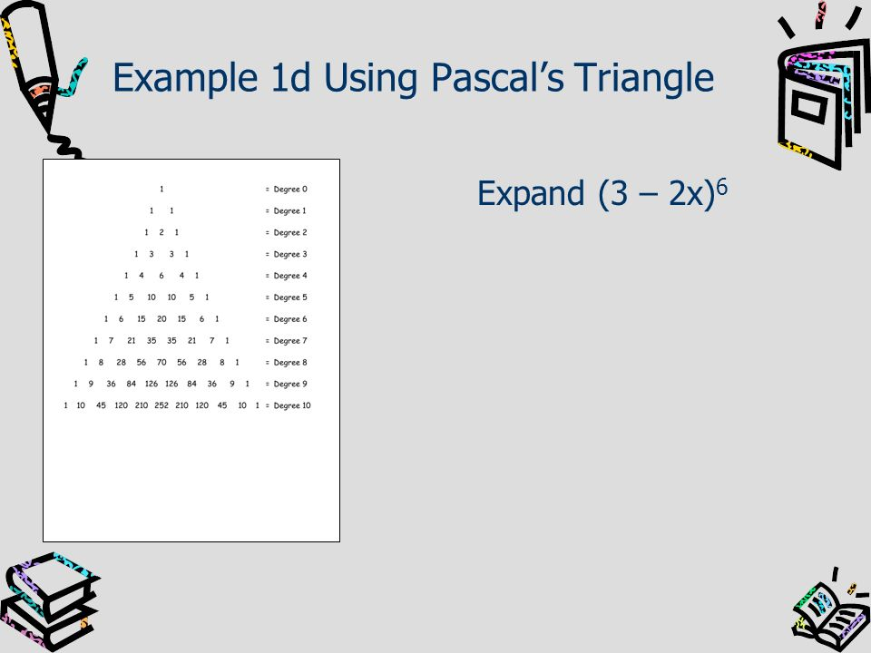 Example 1d Using Pascal's Triangle