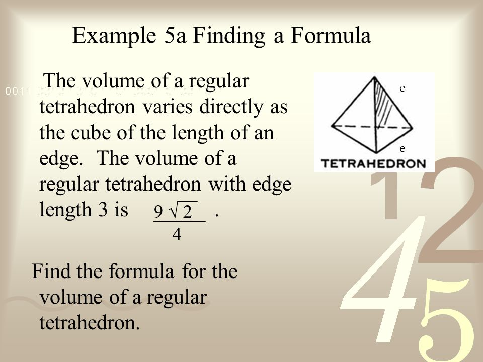 Example 5a Finding a Formula