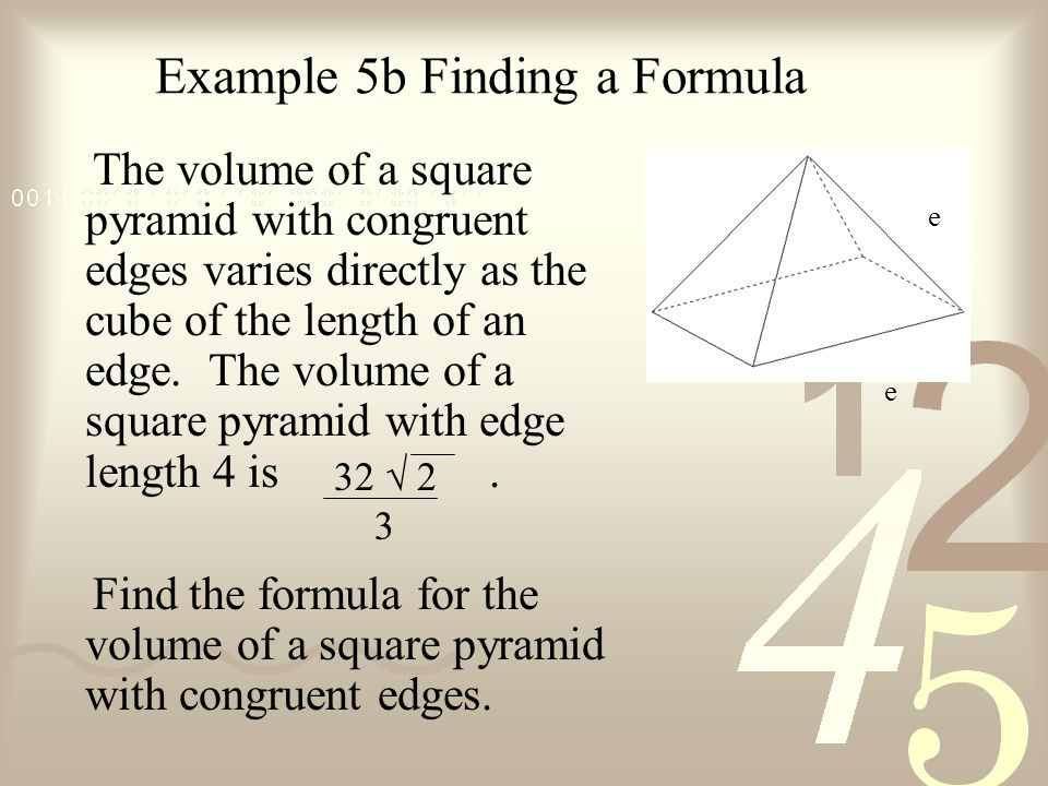 Example 5b Finding a Formula