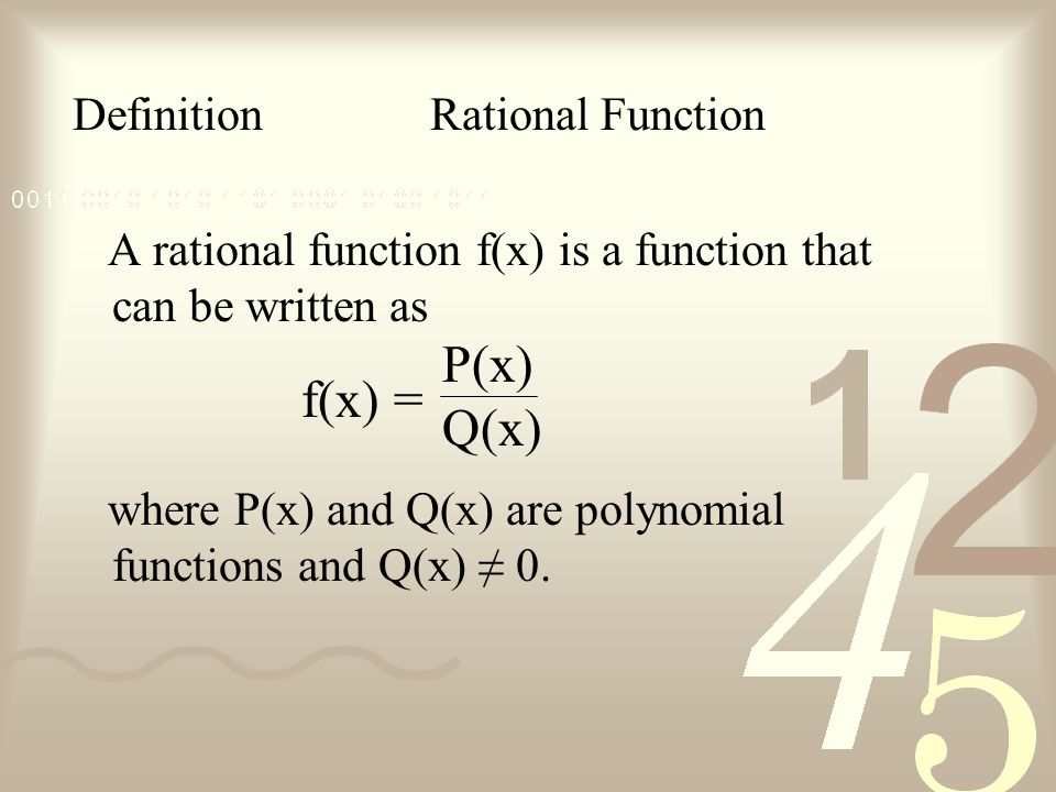 P(x) Q(x) f(x) = Definition Rational Function