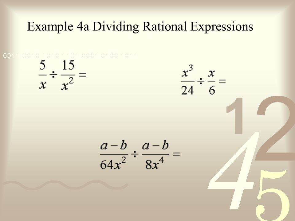 Example 4a Dividing Rational Expressions