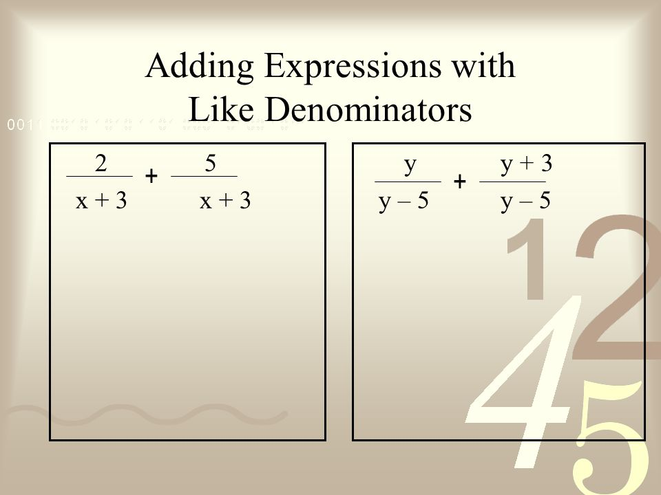 Adding Expressions with Like Denominators