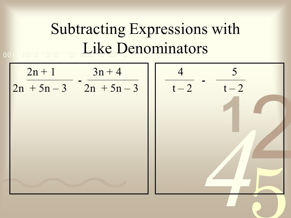 Subtracting Expressions with Like Denominators