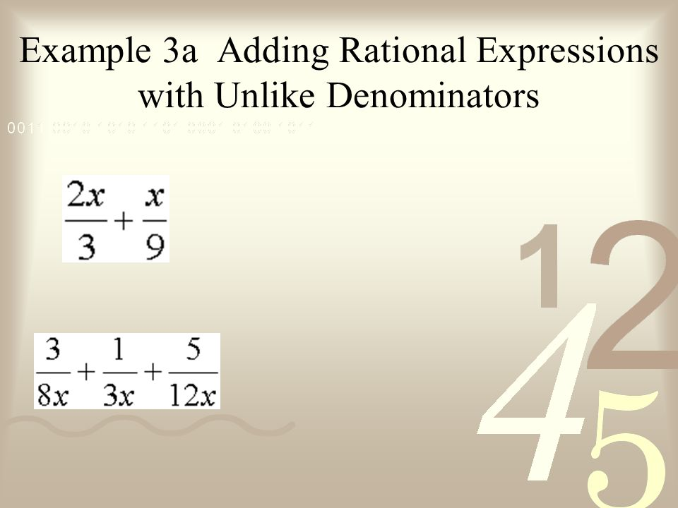 Example 3a Adding Rational Expressions with Unlike Denominators